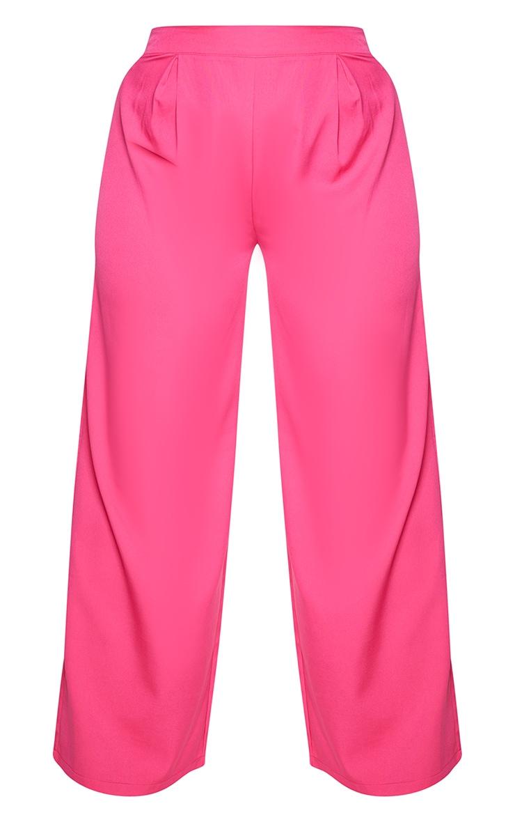 Plus Hot Pink Pleat Detail Wide Leg Pants 5