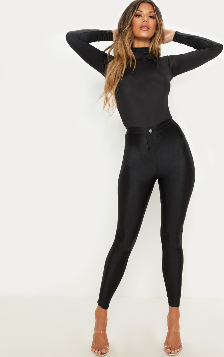 Black Seamless Roll Neck Bodysuit 5