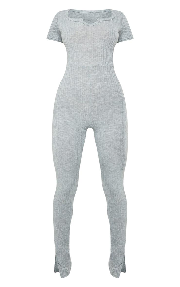 Grey Marl V Detail Short Sleeve Jumpsuit 5