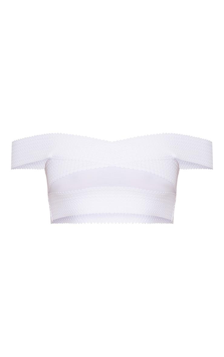 White Bandage Detail Bardot Bikini Top 3