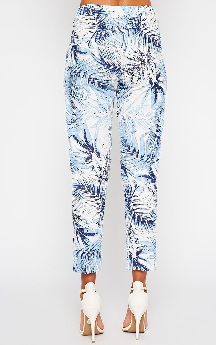 Perrien Blue Palm Print Trousers 3