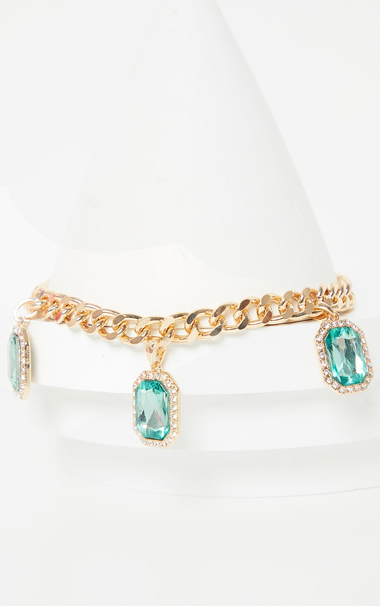 Gold Emerald Drop Chain Choker 3