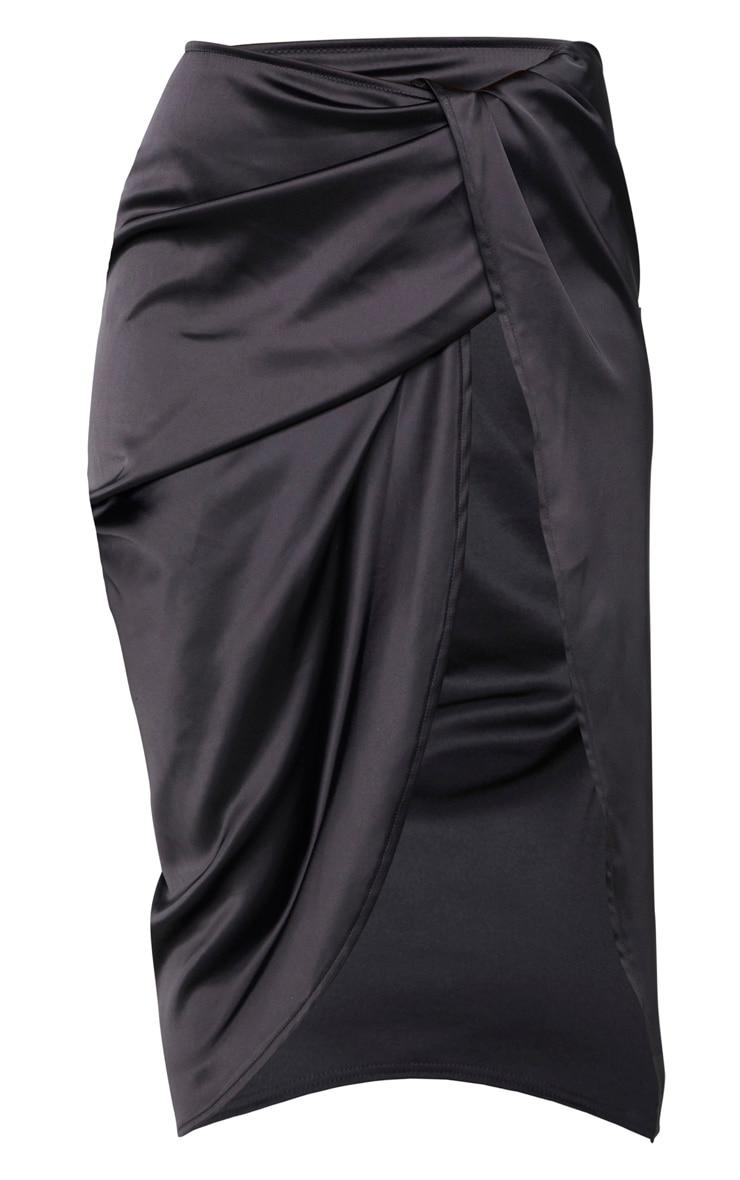 Black Satin Twist Front Midi Skirt 3