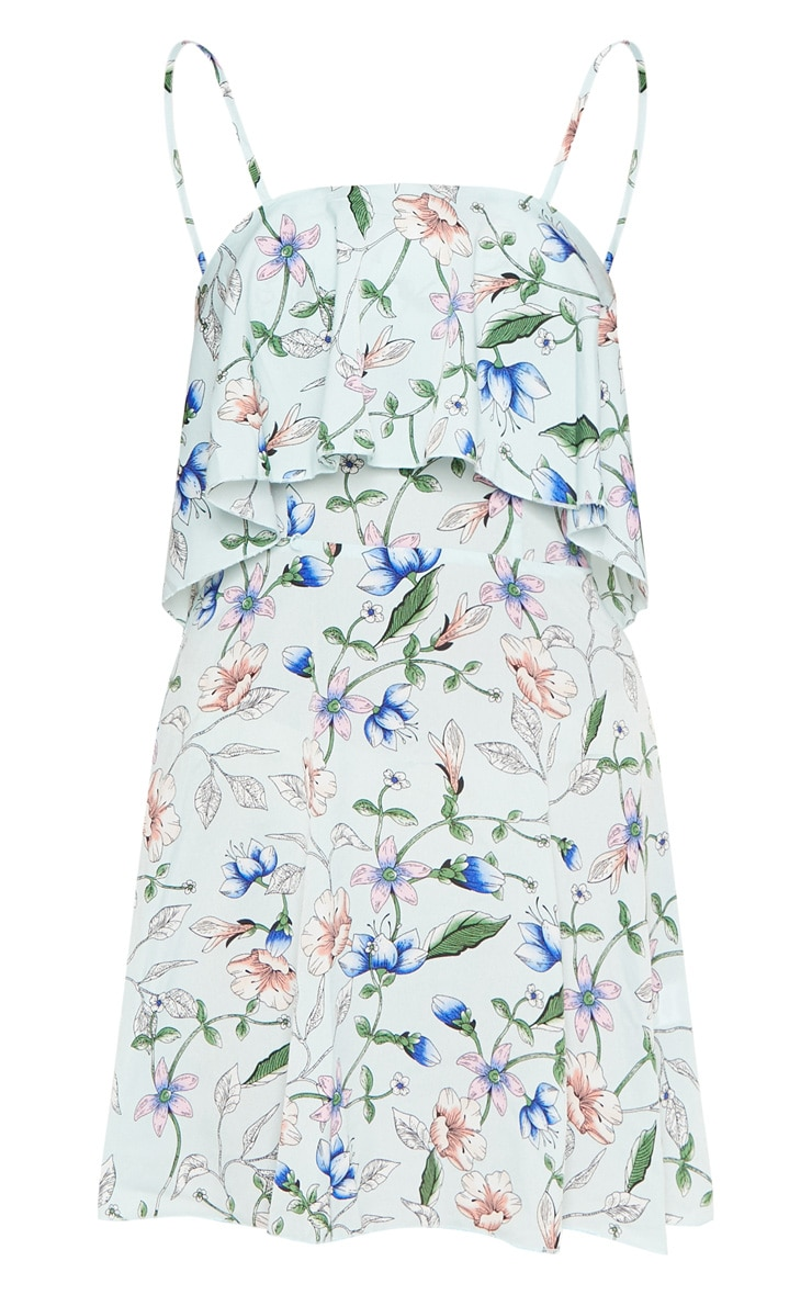 Dusty Blue Floral Print Strappy Layered Skater Dress  3
