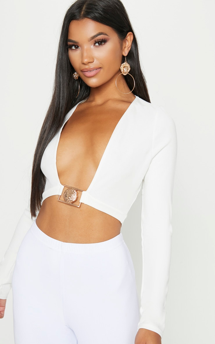 White Lion Clasp Plunge Long Sleeve Crop Top   1