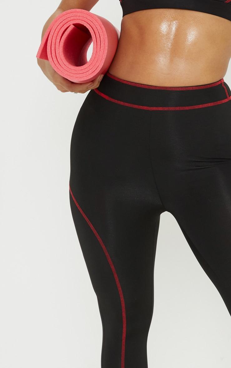 Black Contrast Stitch 3/4 Gym Legging 5