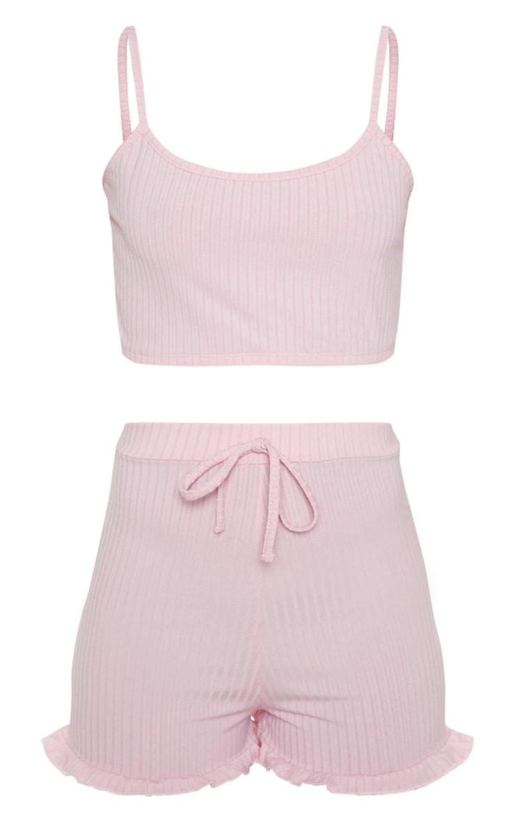 Ensemble de pyjama côtelé rose avec crop top & short volanté 3