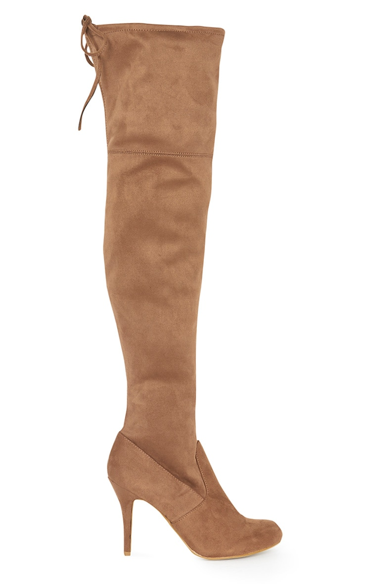 Ayana Tan Suedette Over the Knee Heeled Boot 4