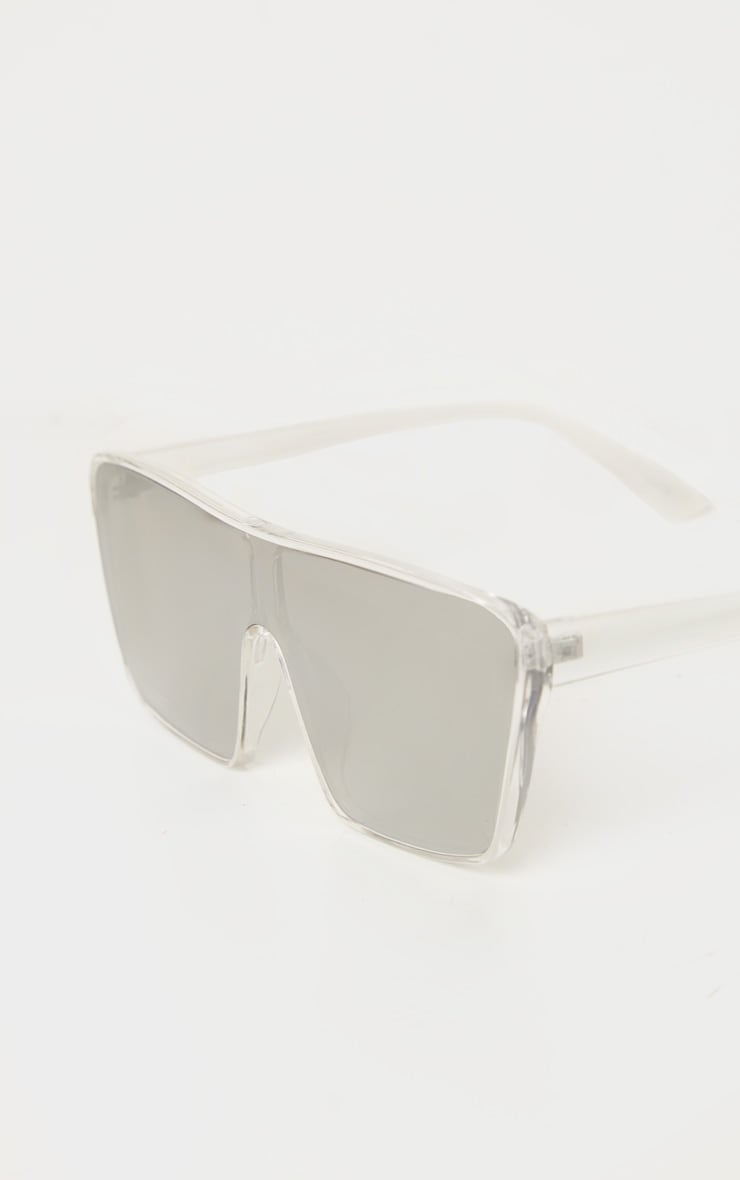 Clear Trim Silver Lens Oversized Square Frame Sunglasses 2