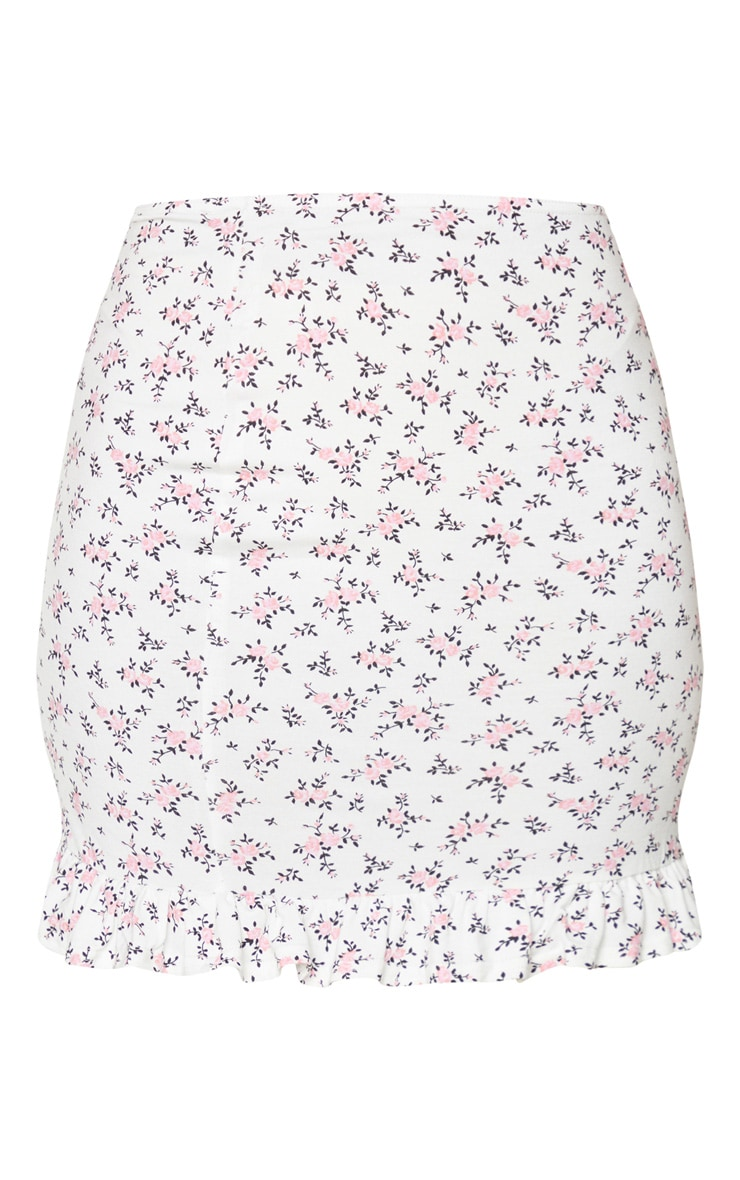 White Printed Jersey Frill Hem Mini Skirt 6