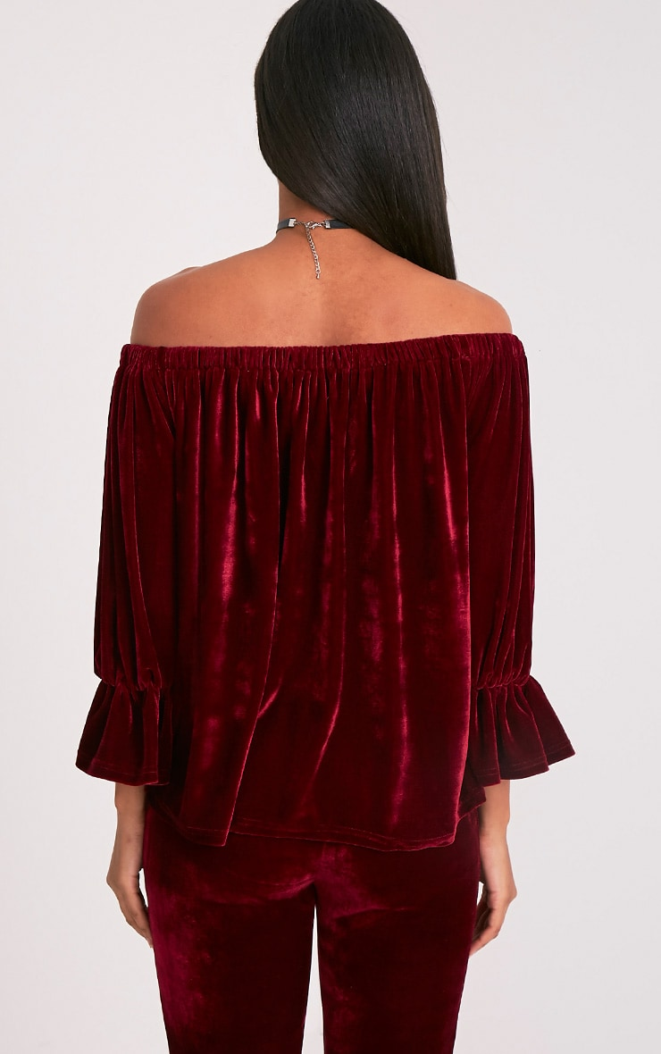 Evalyn Wine Velvet Bardot Top 2