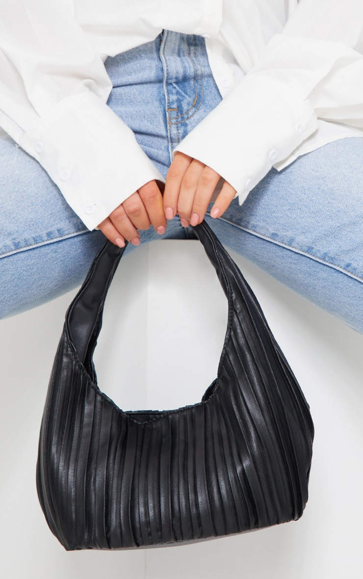 Black Pleated Front Rounded Shoulder Bag 1