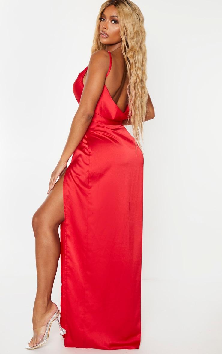 Shape Red Satin Cowl Neck Maxi Dress 3