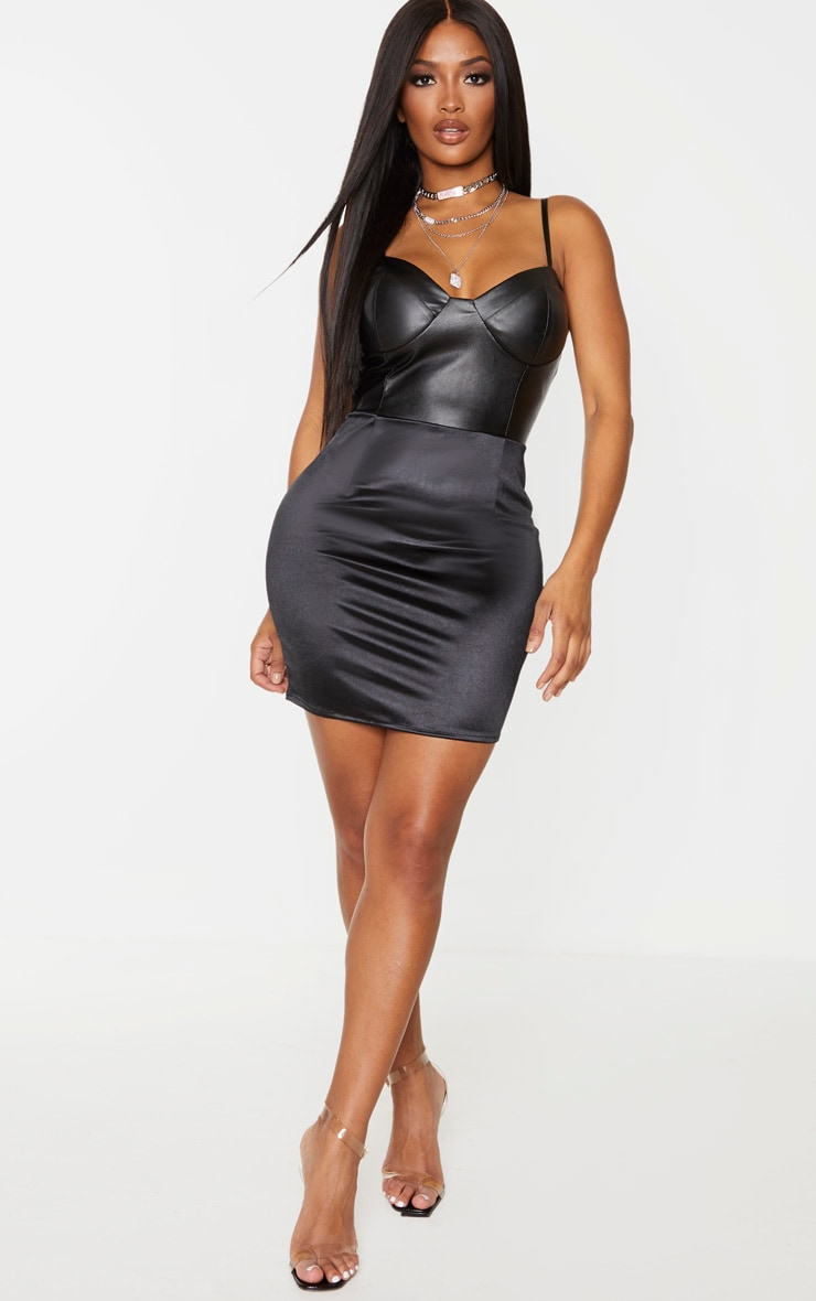 Shape Black PU Cup Detail Satin Skirt Bodycon Dress 4