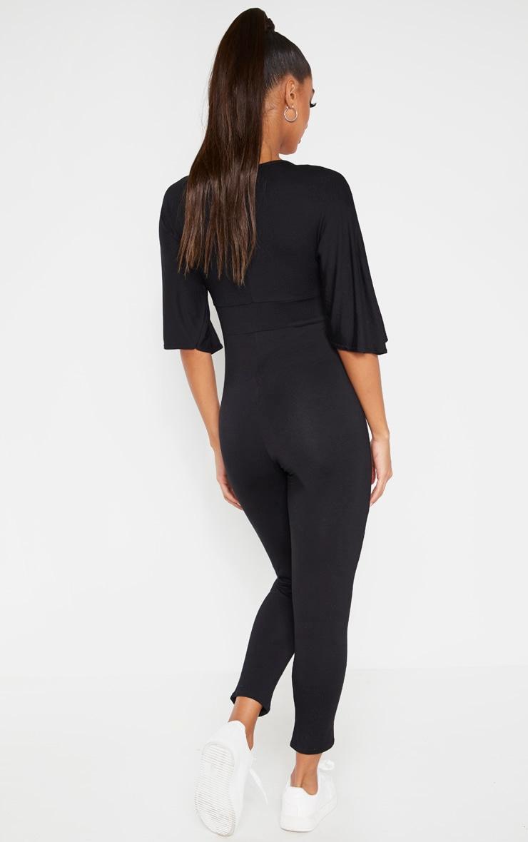 Black V Neck Short Sleeve Jumpsuit 2