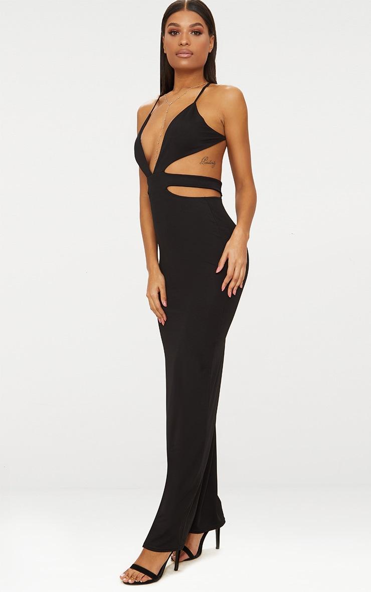 Black Strappy Cut Out Detail Maxi Dress 4