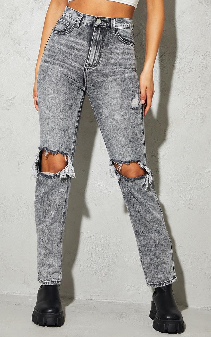 Jean long noir très délavé à genoux déchirés 2