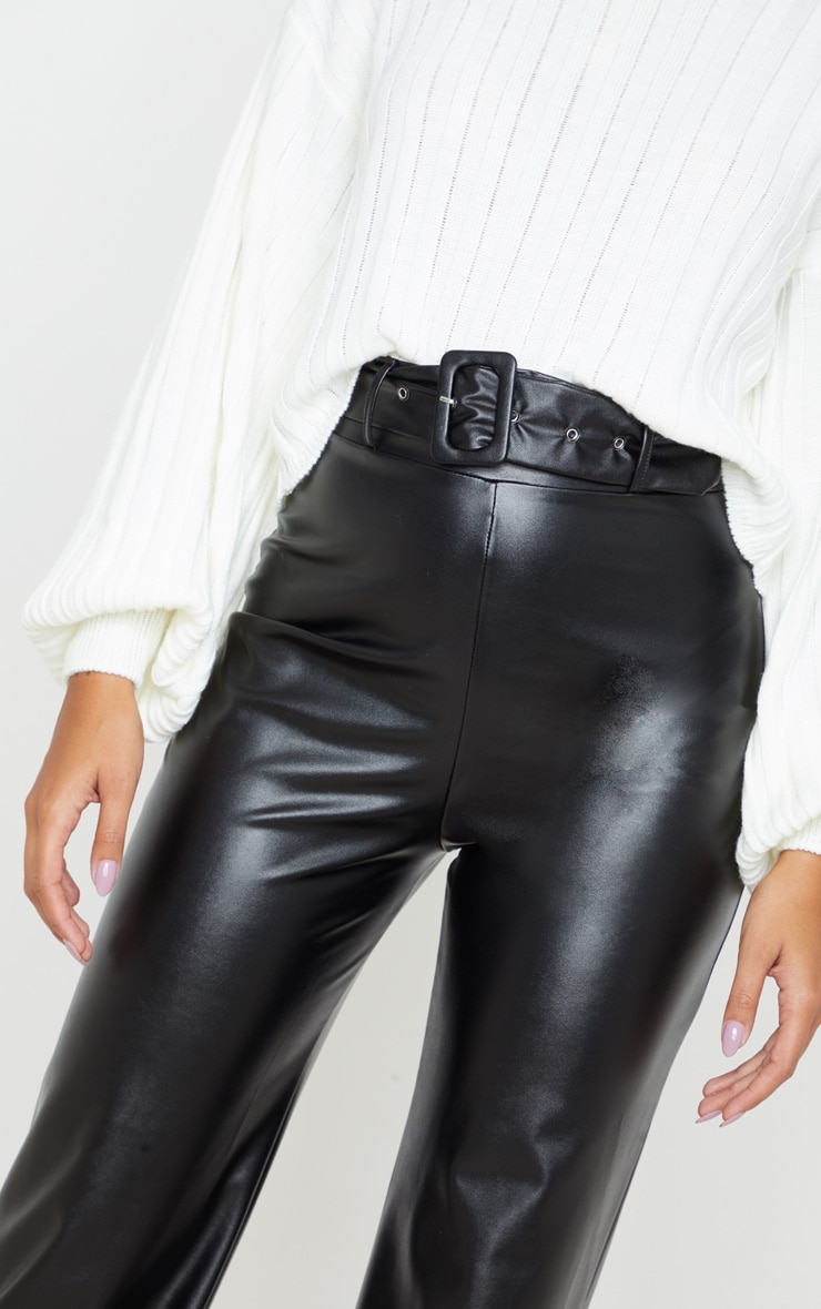 Black Faux Leather Belted Wide Leg Trouser 5