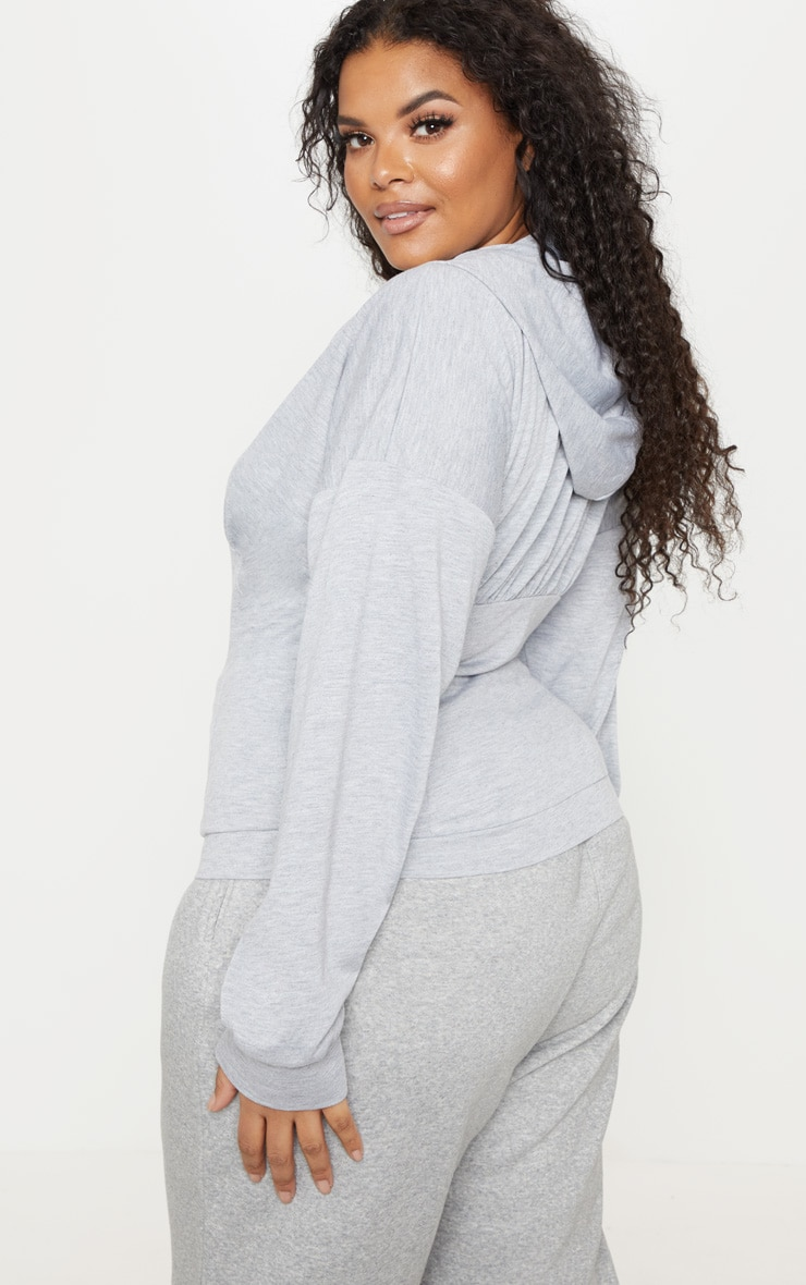 Plus Grey Ruched Zip Hoodie 2