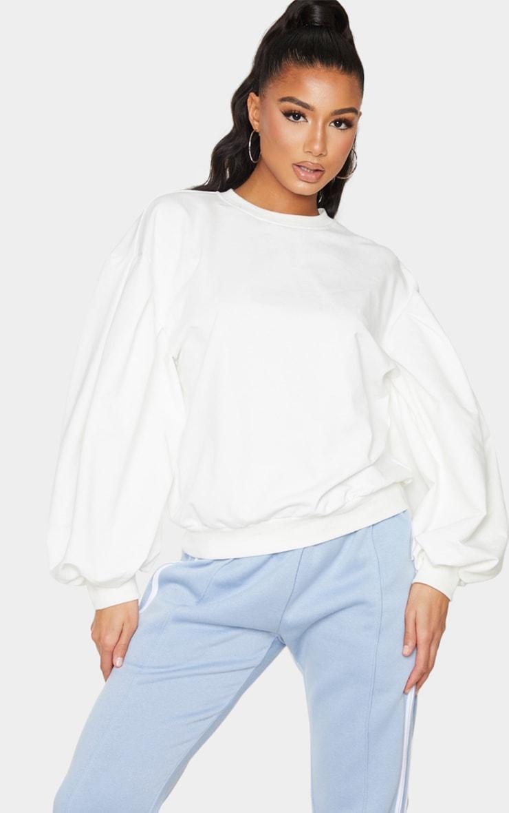 Cream Oversized Sleeve Sweatshirt 1