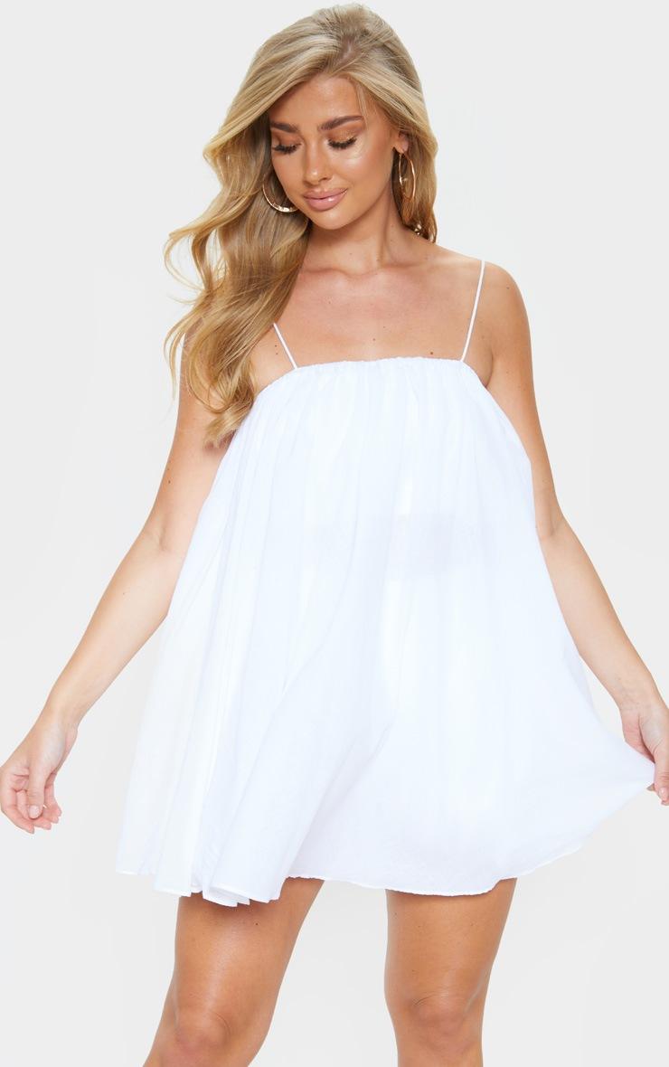 White Cotton Spaghetti Strap Puff Beach Dress 1