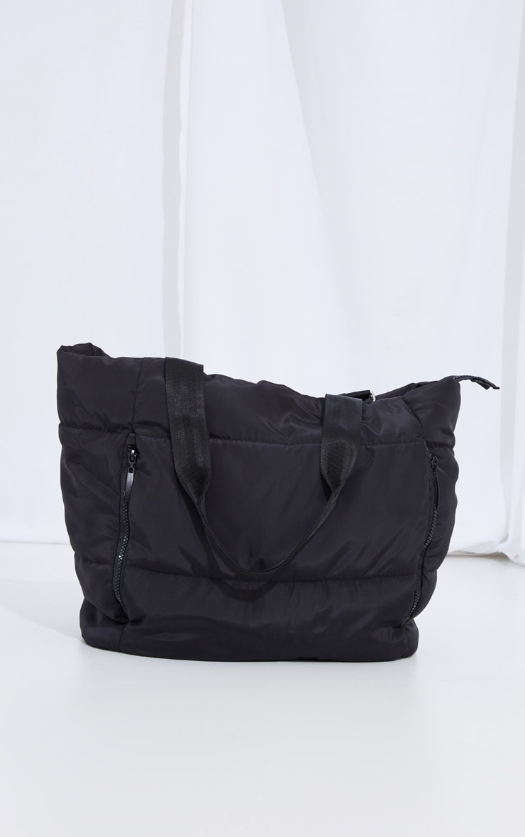 Black Oversized Quilted Tote Bag 2
