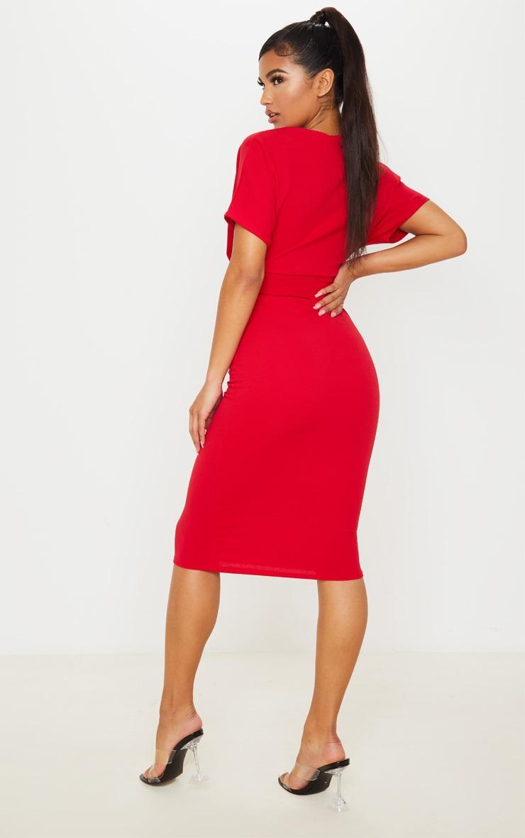 Red Short Sleeve Tie Waist Midi Dress 2
