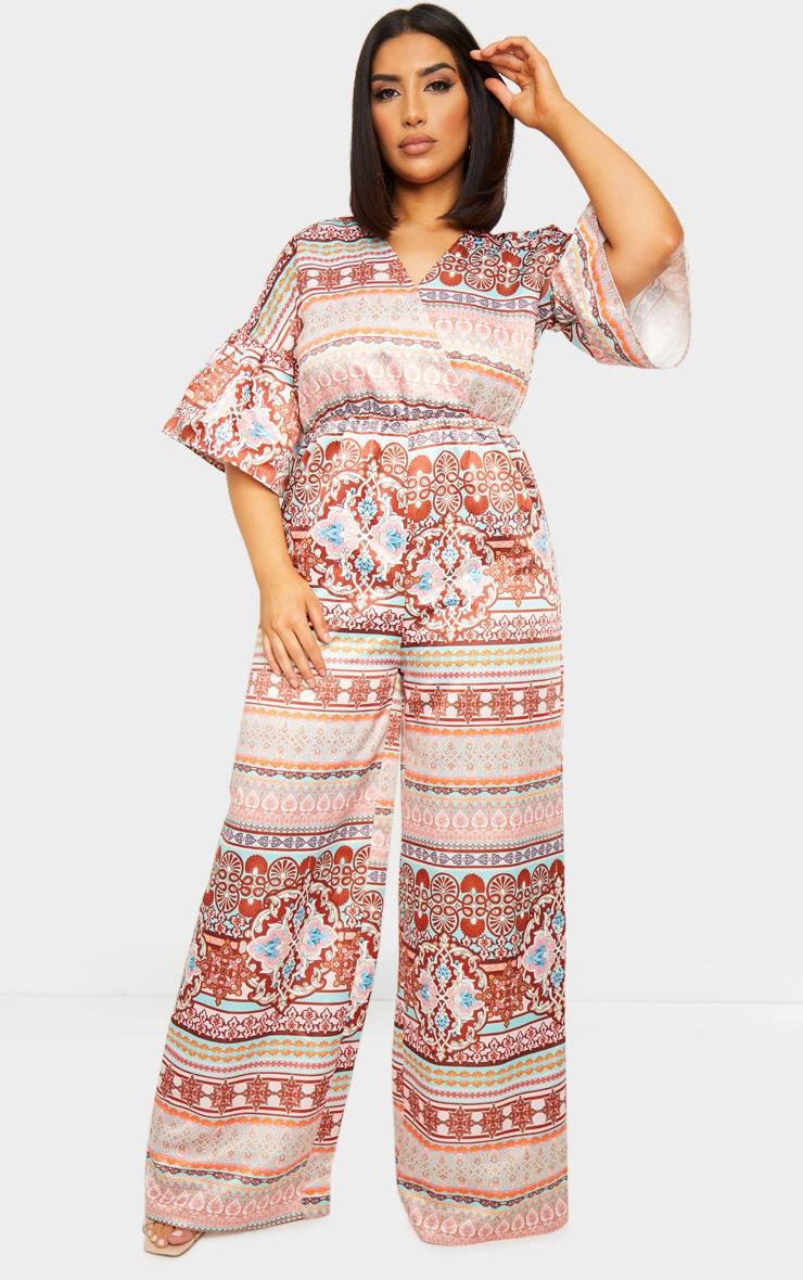 Multi Woven Printed Flare Sleeve Wide Leg Jumpsuit 1