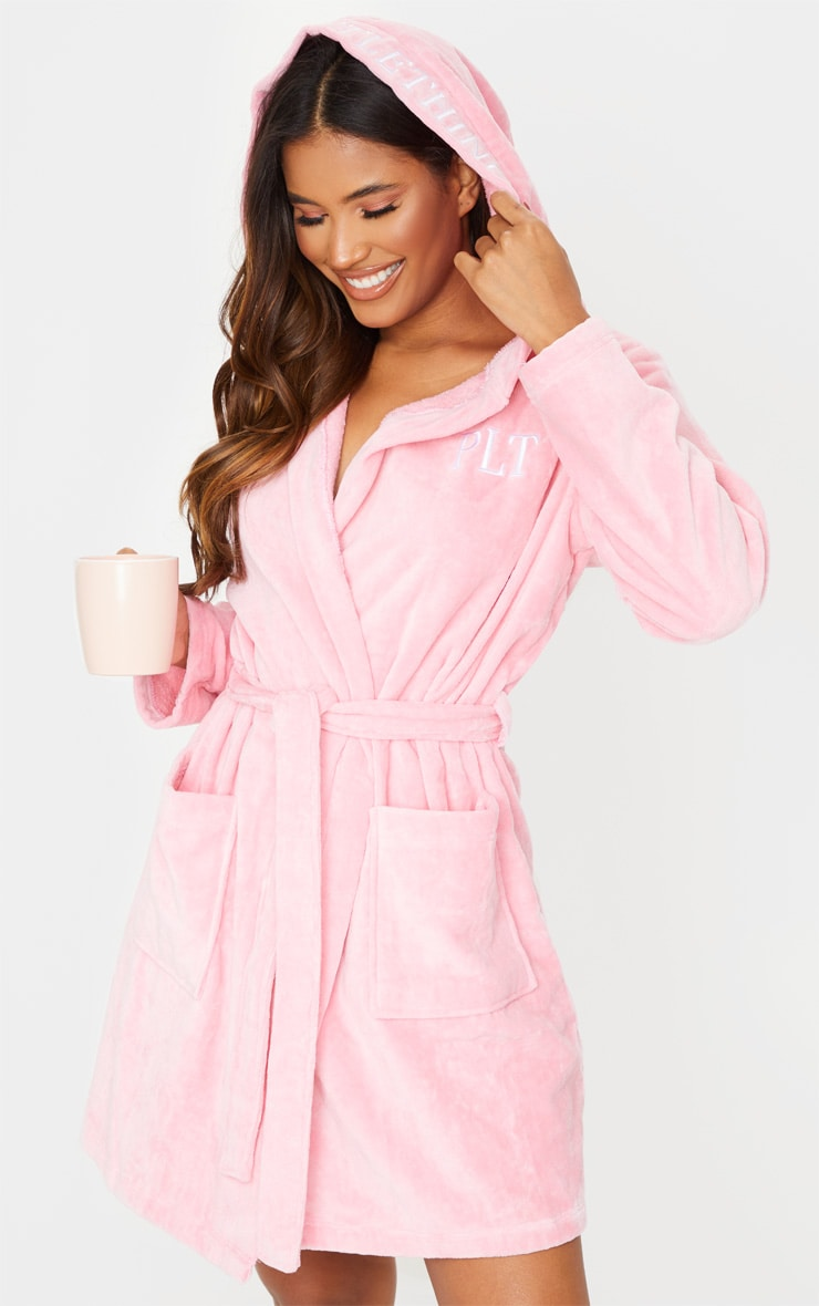 PRETTYLITTLETHING Pink Hood Detail Towelled Dressing Gown 1