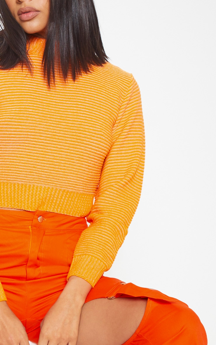 Orange Ribbed Cropped Knitted Jumper 5