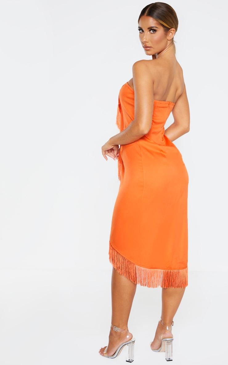 Orange Bandeau Tassel Front Midi Dress 2