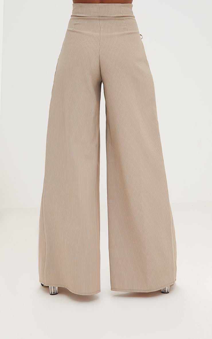 Stone Pinstripe Lace Up Wide Leg Trousers 4