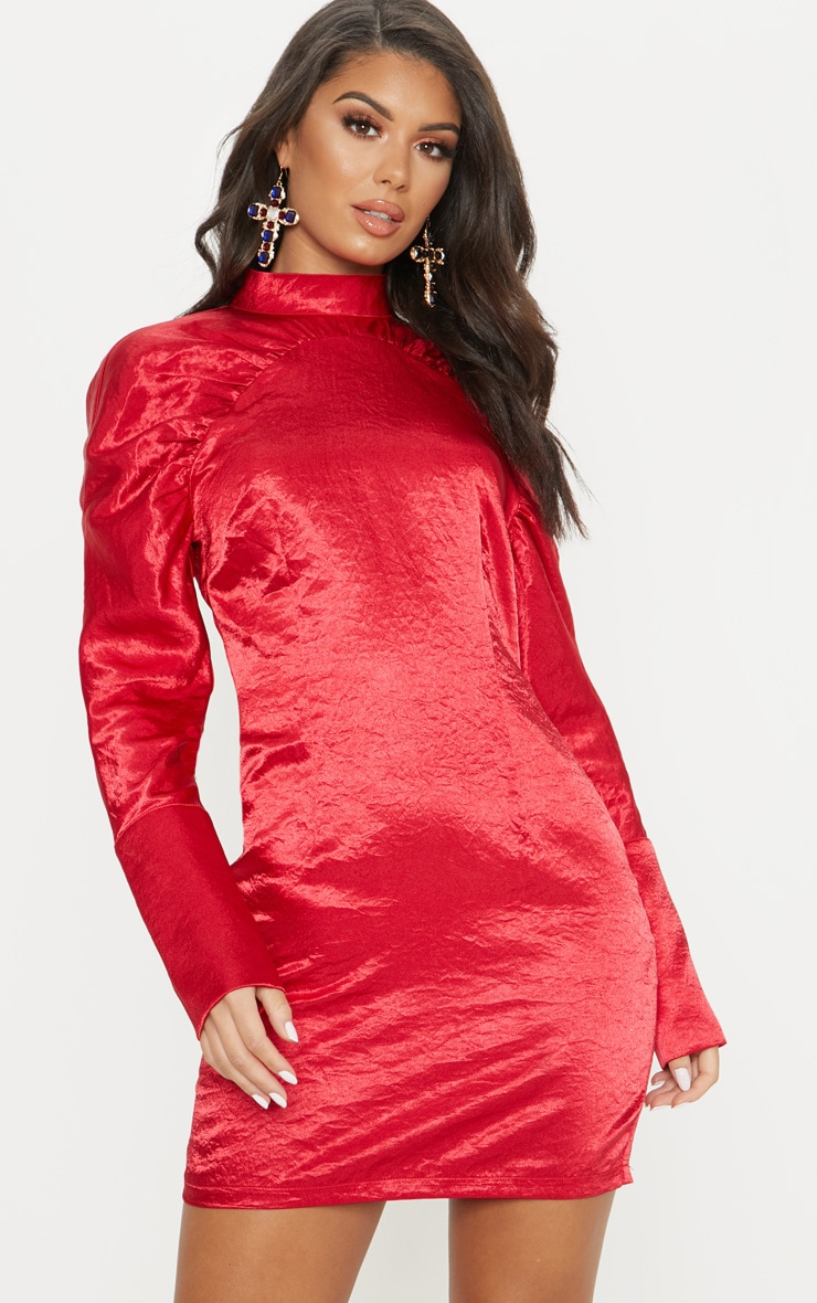 Red Satin High Neck Long Sleeve Ruched Bodycon Dress 4