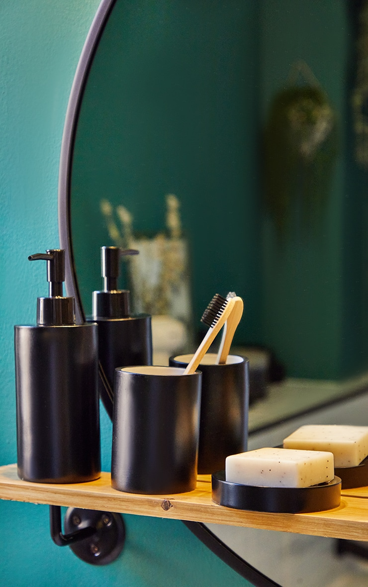 Matte Black 3 Piece Bathroom Soap Set 1