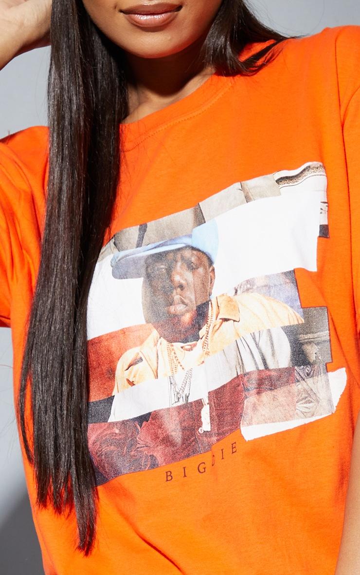 Orange Biggie Print Oversized T Shirt 4