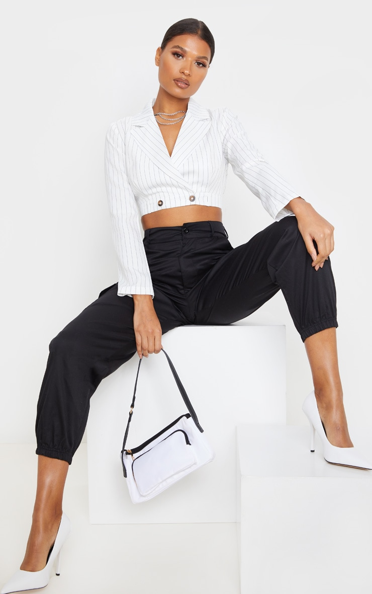 White Pinstripe Button Front Crop Shirt 4