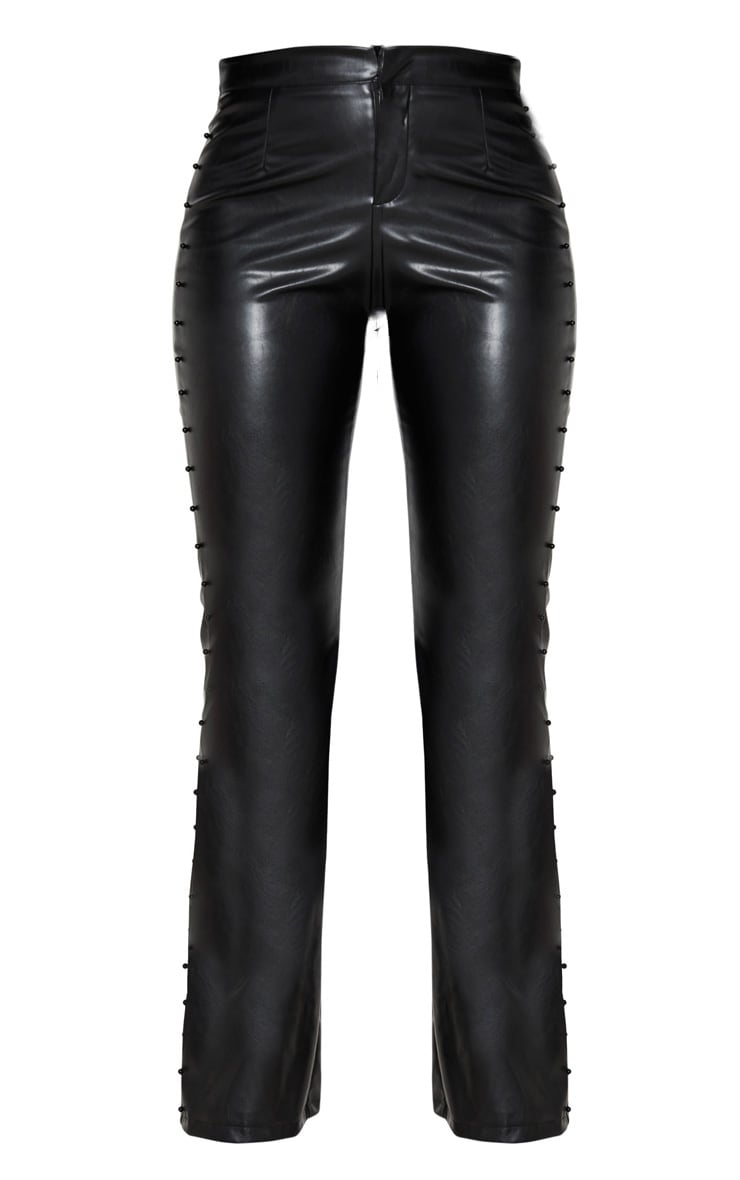 Black Beaded Side Faux Leather Flared Trouser 4