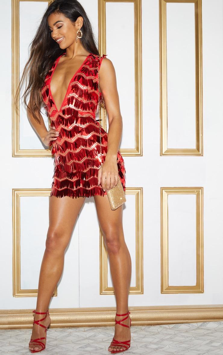 Red Sequin Tassel Sleeveless Plunge Bodycon Dress 6