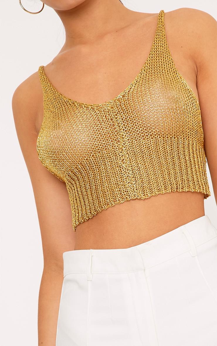Amba brassière tricotée métallique dorée transparente 5