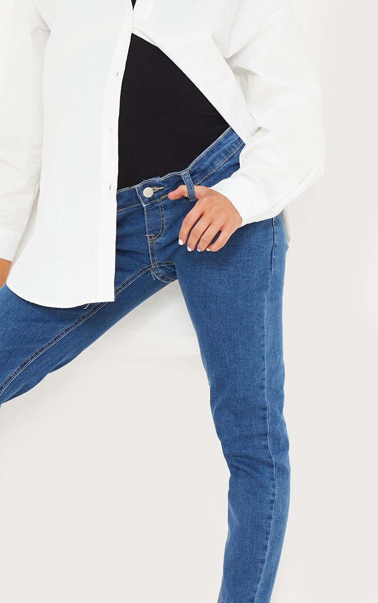 Maternity Mid Wash Skinny Jeans 4