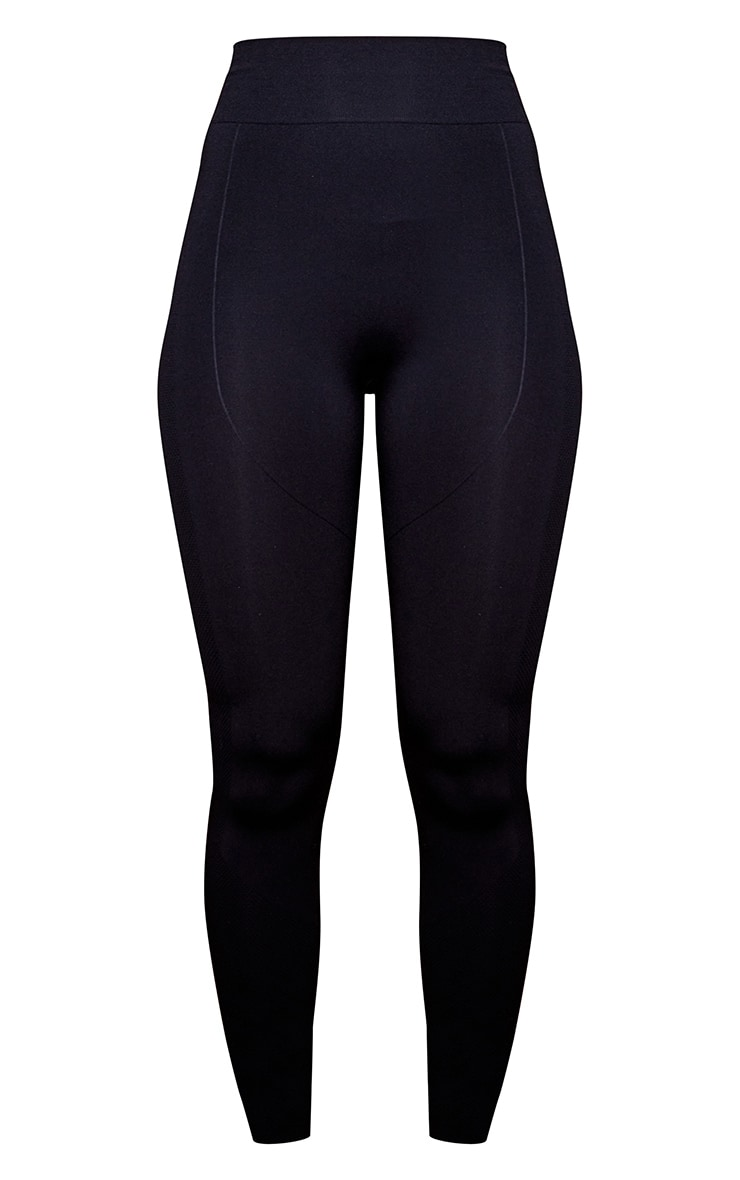 PRETTYLITTLETHING Black Contour Cropped Seamless Gym Leggings 5