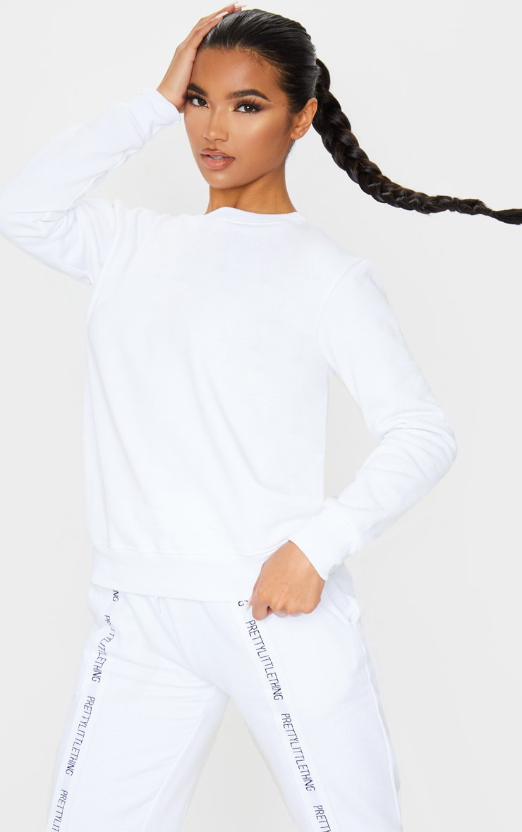 Basic White  Crew Neck Sweater 1