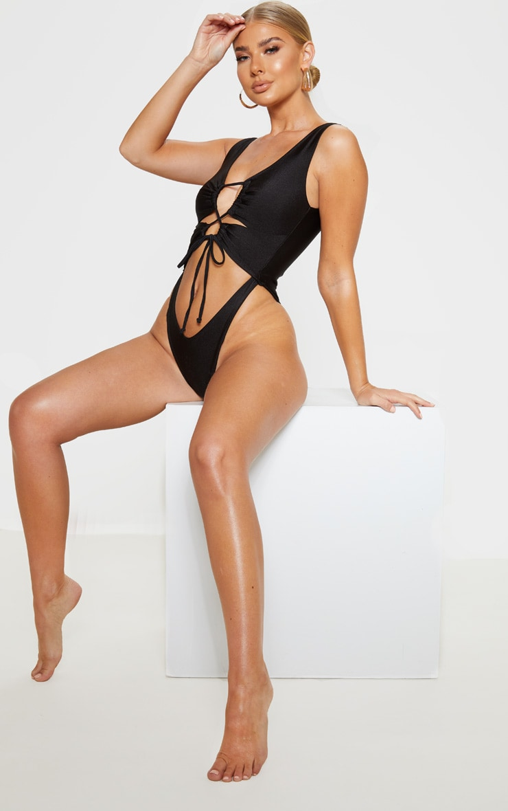 Black Cut Out Adjustable String Swimsuit 4