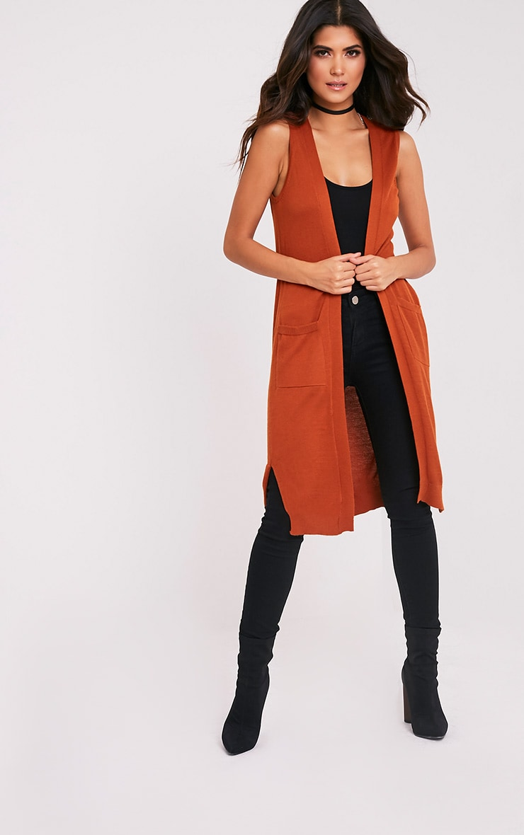 Arlais Orange Long Line Fine Knit Cardigan 1