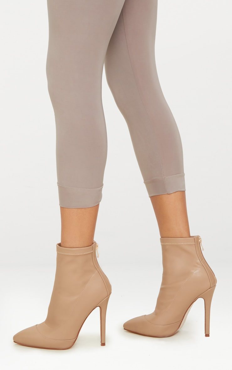 Warm Beige PU Pointed Ankle Sock Boot 1