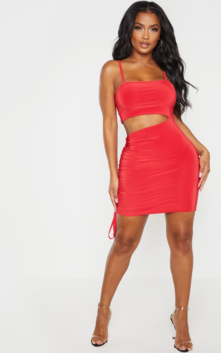 Shape Red Slinky Cut Out Side Ruched Bodycon Dress 4