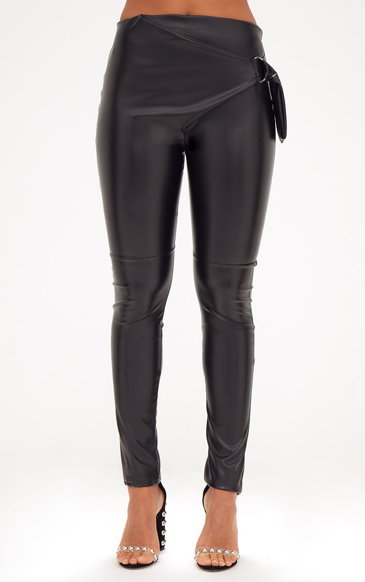 Black Faux Leather D Ring Wrap Trousers 2