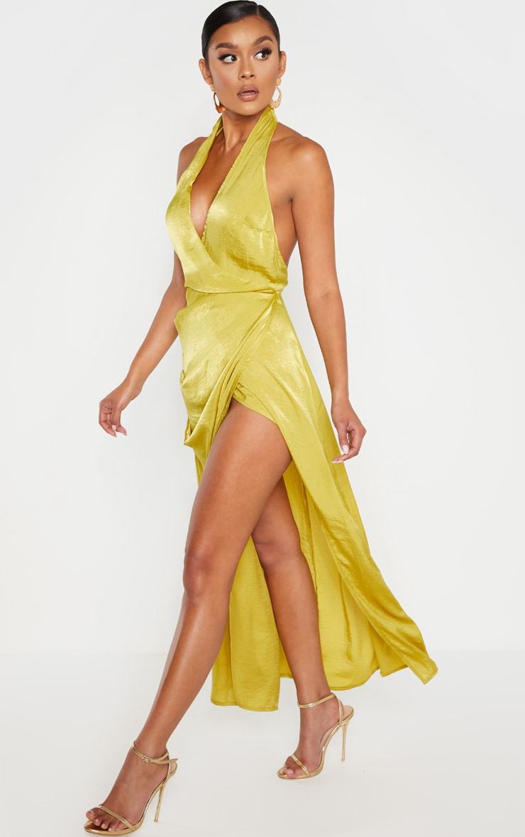 Light Lime Hammered Satin Halterneck Maxi Dress 1