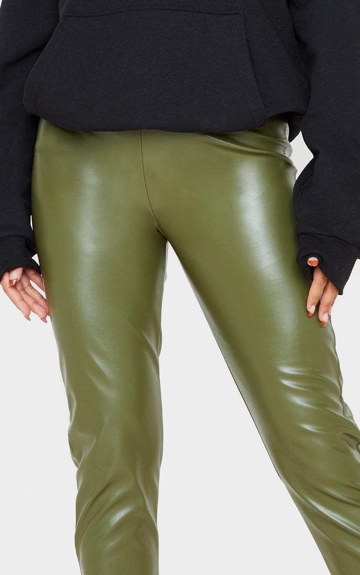 Khaki Faux Leather Split Hem Leggings 5