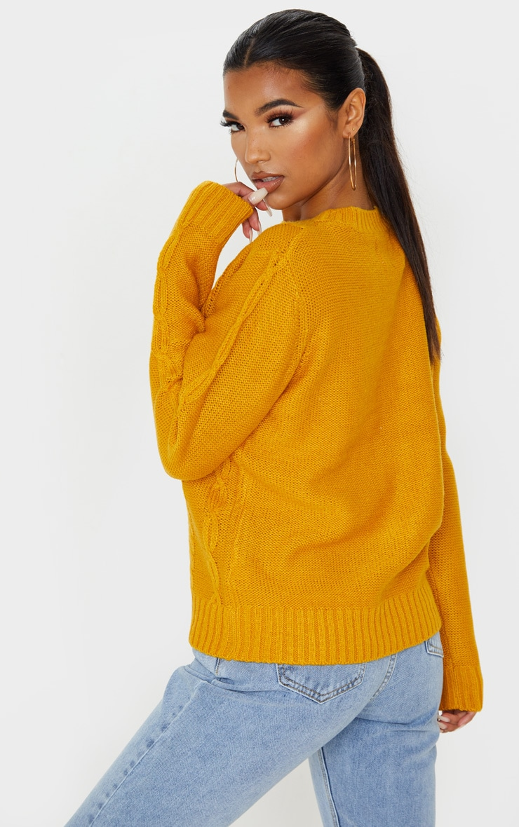 Mustard Pom Pom Detail Cable Knitted Jumper 2
